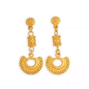 Small dangle earrings w Filigree nose ring 24k GP